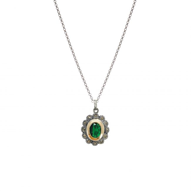 Necklace Emerald Marcasites in Silver and Gold