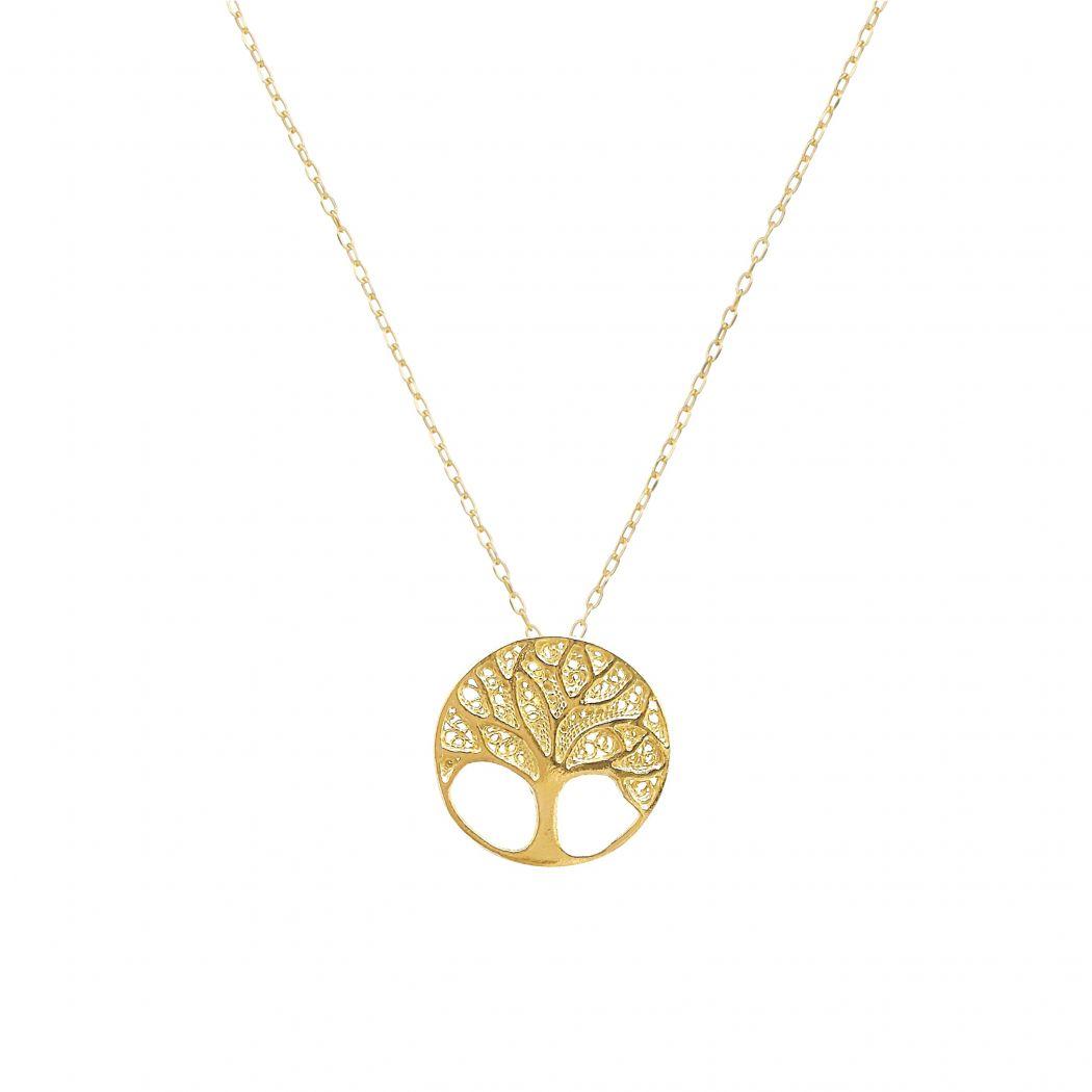 Colar Árvore da Vida em Prata Dourada