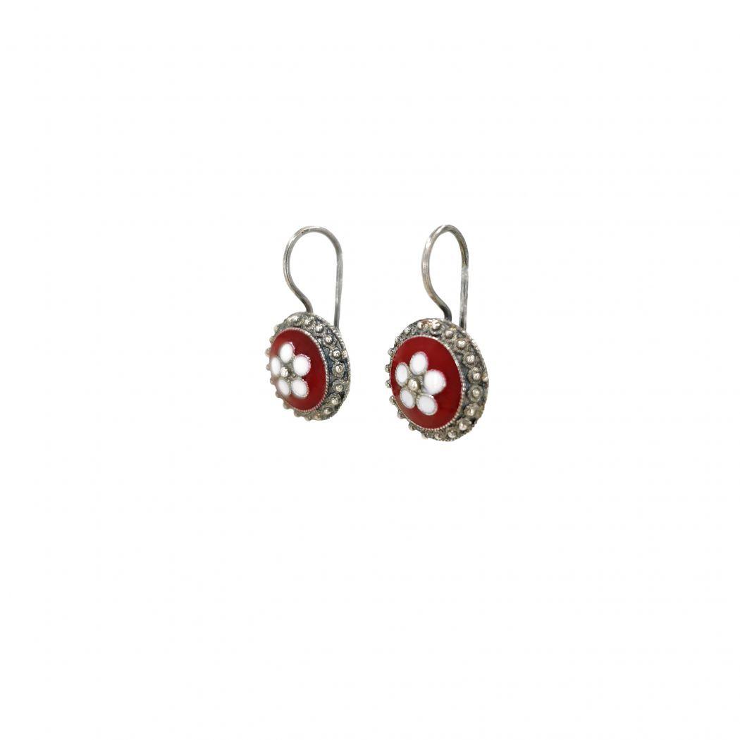 Earrings Red Caramujo in Silver