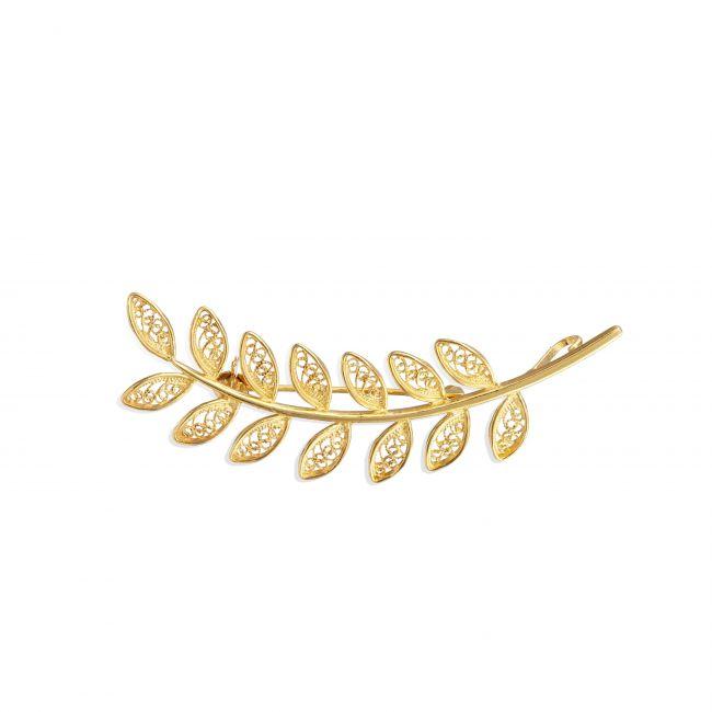 Alfinete Folhas em Prata dourada