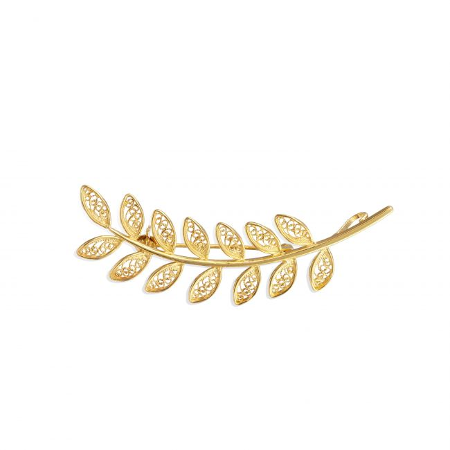 Brooch Leaves in Gold Plated Silver