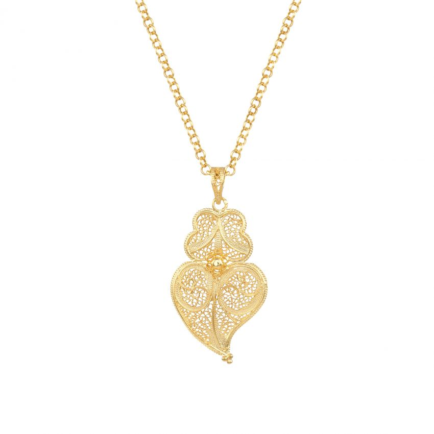 Necklace Heart of Viana 4,5 cm in Gold Plated Silver
