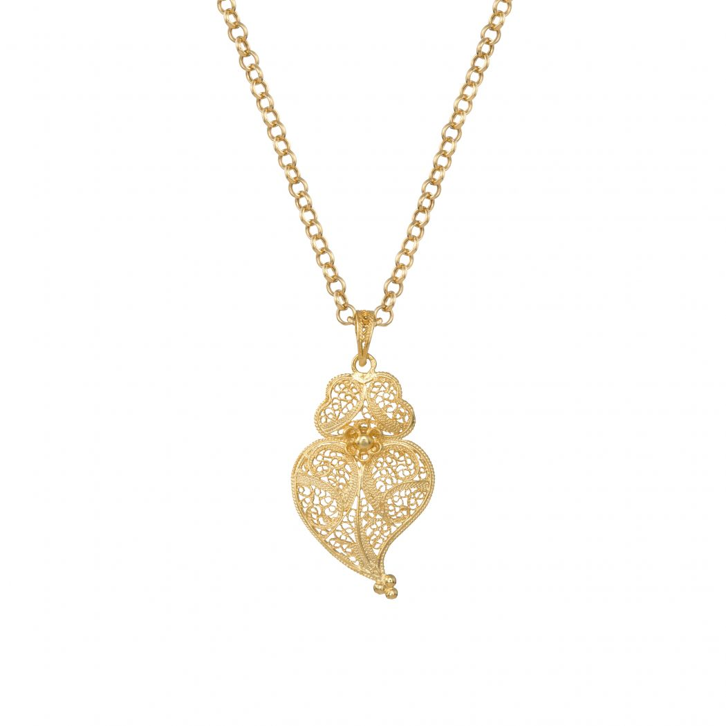 Necklace Heart of Viana 4,0 cm in Gold Plated Silver