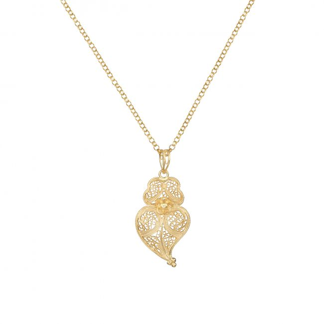 Necklace Heart of Viana 3,5cm in Gold Plated Silver