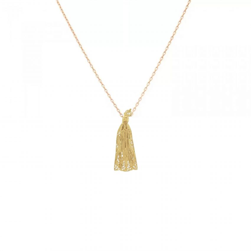 Necklace Our Lady of Fátima in 9Kt Gold