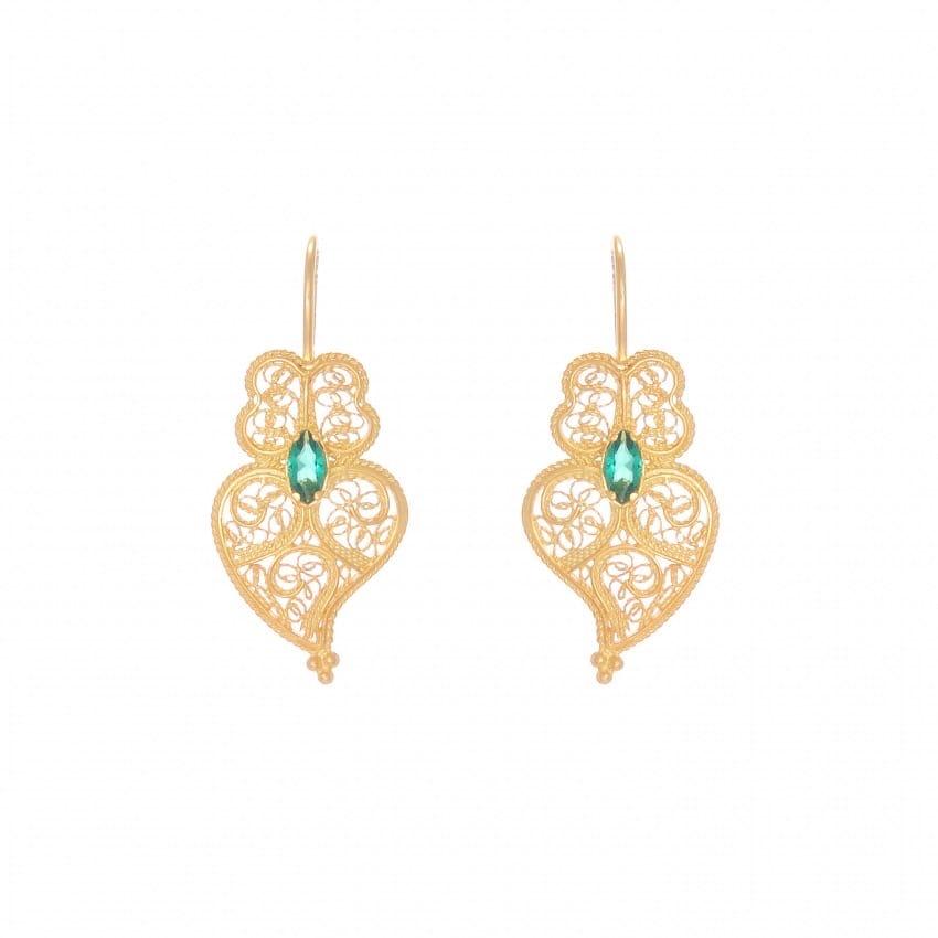 Earrings Heart of Viana Emerald in Gold Plated Silver