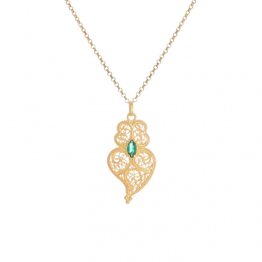 Necklace Heart of Viana Emerald in Gold Plated Silver