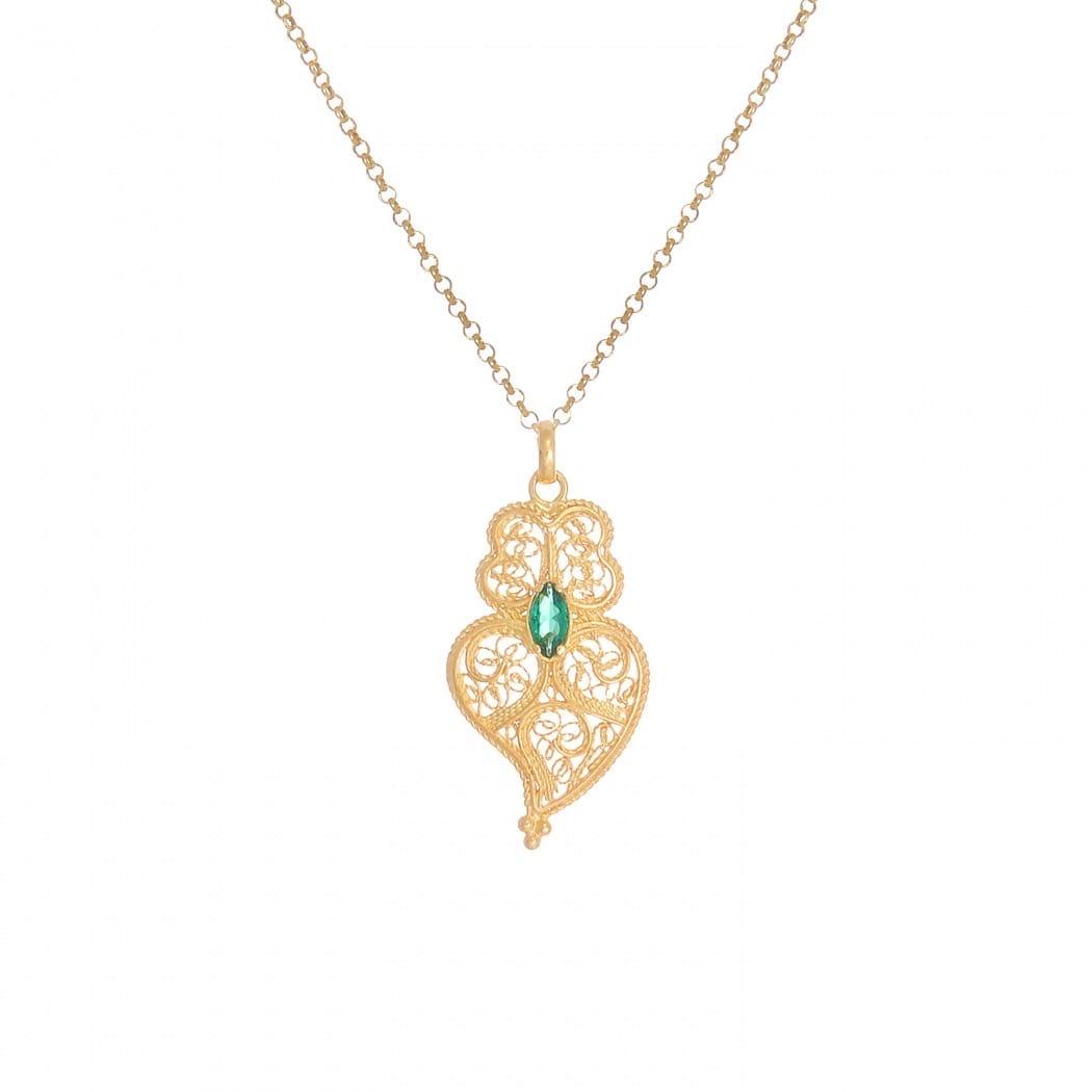 Colar Coração de Viana Esmeralda em Prata Dourada
