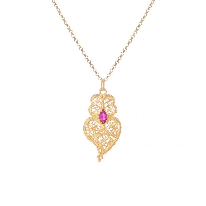 Colar Coração de Viana Rubi em Prata Dourada