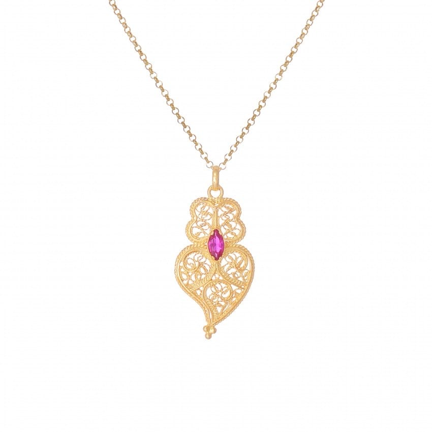 Necklace Heart of Viana Ruby in Gold Plated Silver