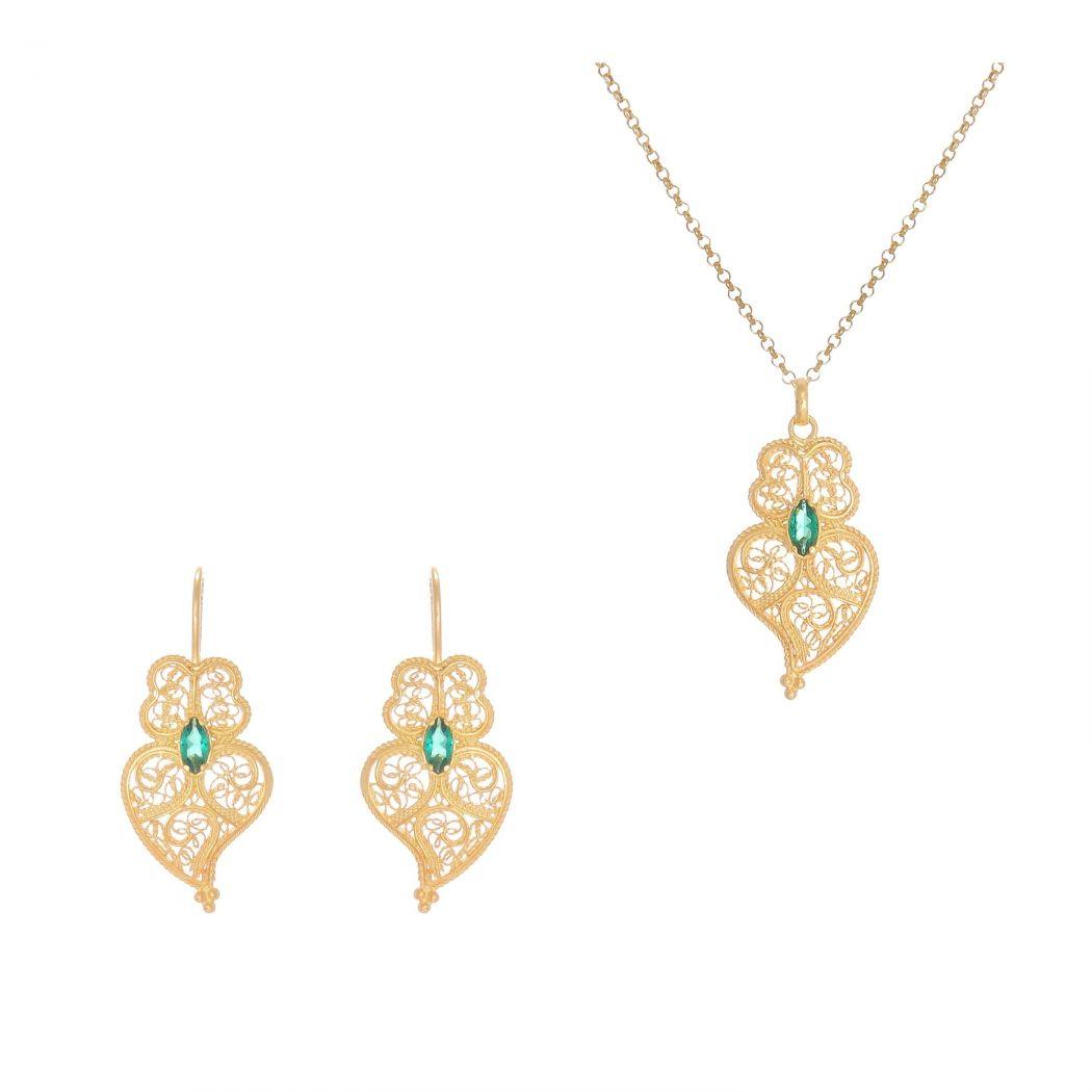 Conjunto Brincos e Colar Coração de Viana Esmeralda em Prata Dourada