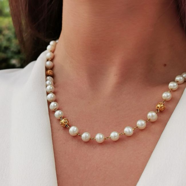 Necklace Conta in 19,2Kt Gold and Pearls
