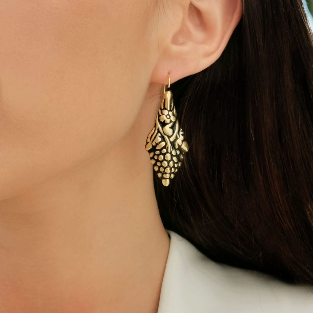 Earrings Baroque Grapes in Gold Plated Silver
