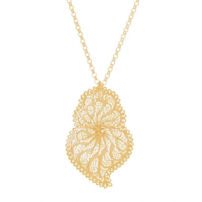 Colar Coração de Viana Ícone em Prata Dourada