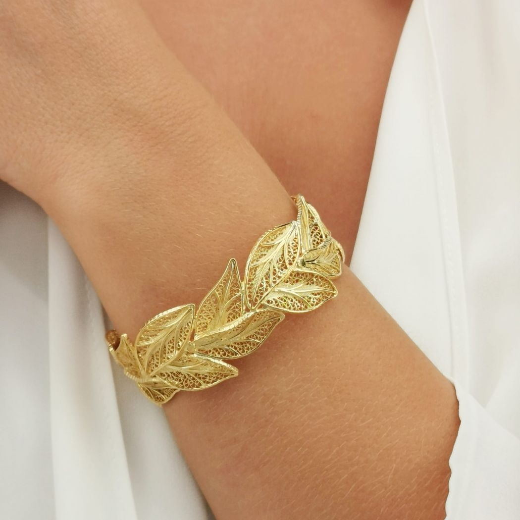 Bracelet Leaves in Gold Plated Silver