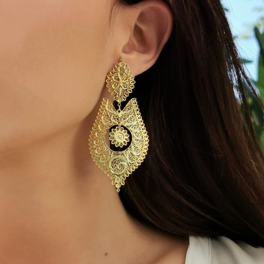 Queen Earrings Icone in Gold Plated Silver
