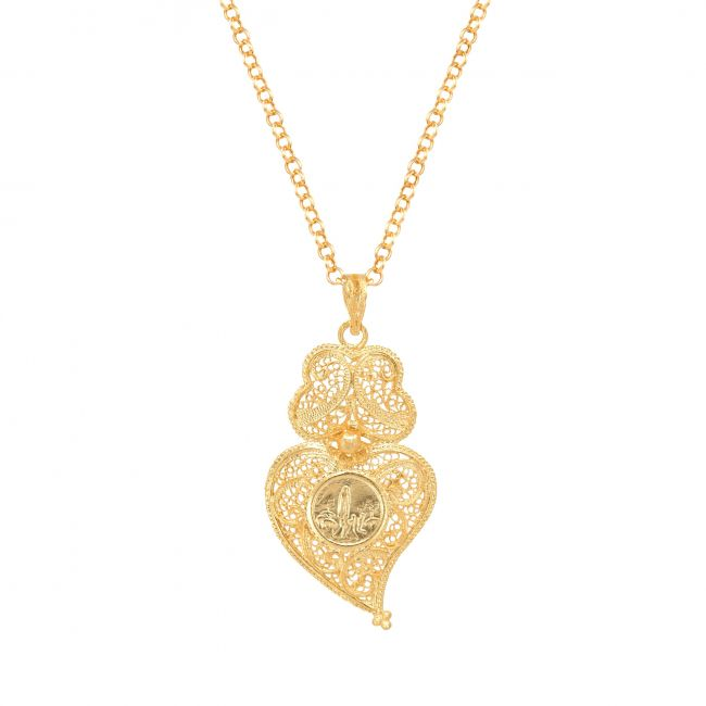 Necklace Heart of Viana with Our Lady of Fatima in Gold Plated Silver