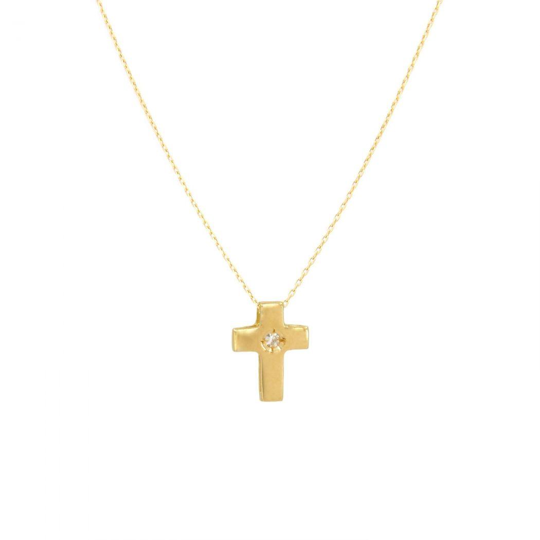 Colar Cruz com Diamante em Ouro 19,2Kt