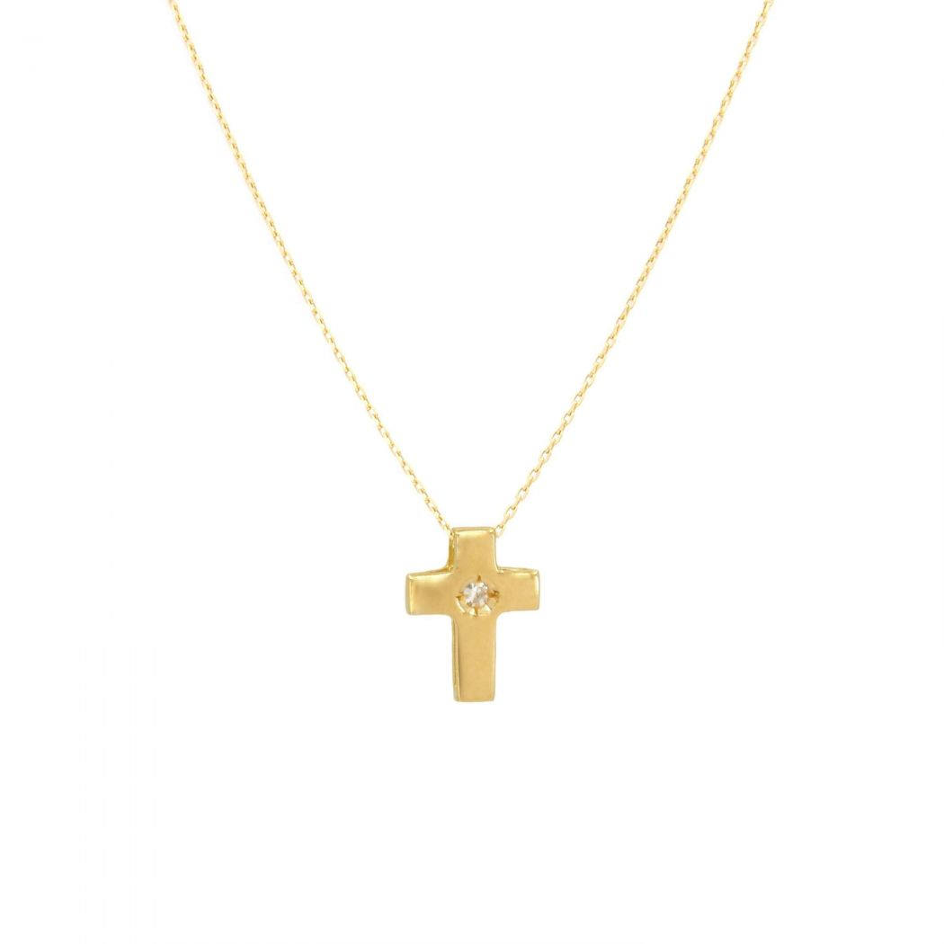Necklace Cross with Diamond in 19,2Kt Gold