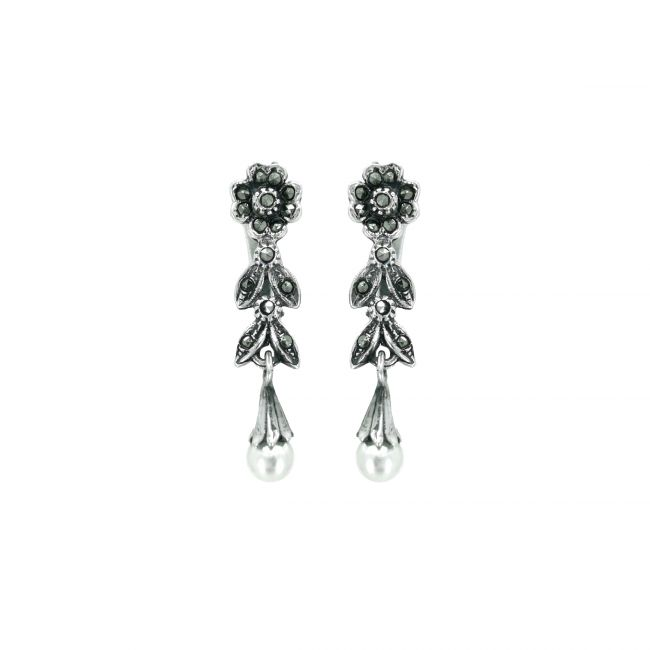 Earrings Teardrop with Marcasites and Pearl in Silver
