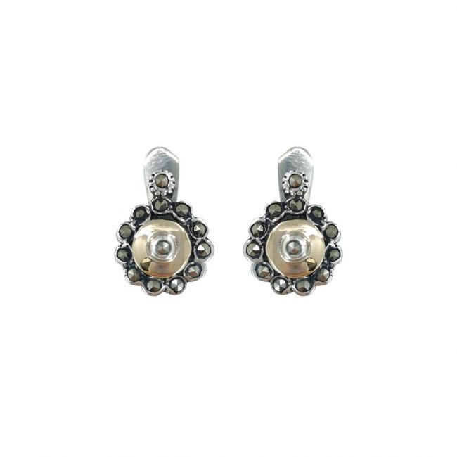 Earrings Marcasites in Silver and Gold