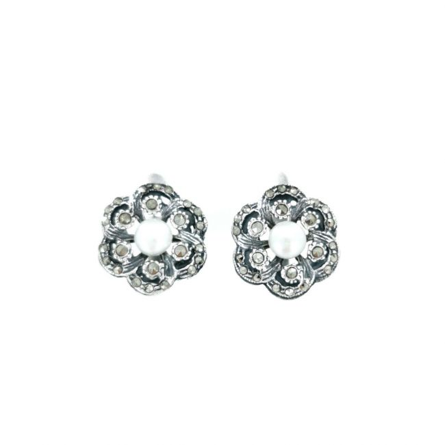 Earrings Flower with Marcasites and Pearl in Silver