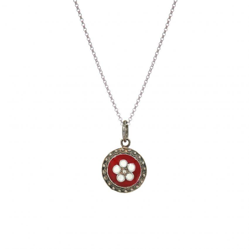 Necklace Red Caramujo in Silver
