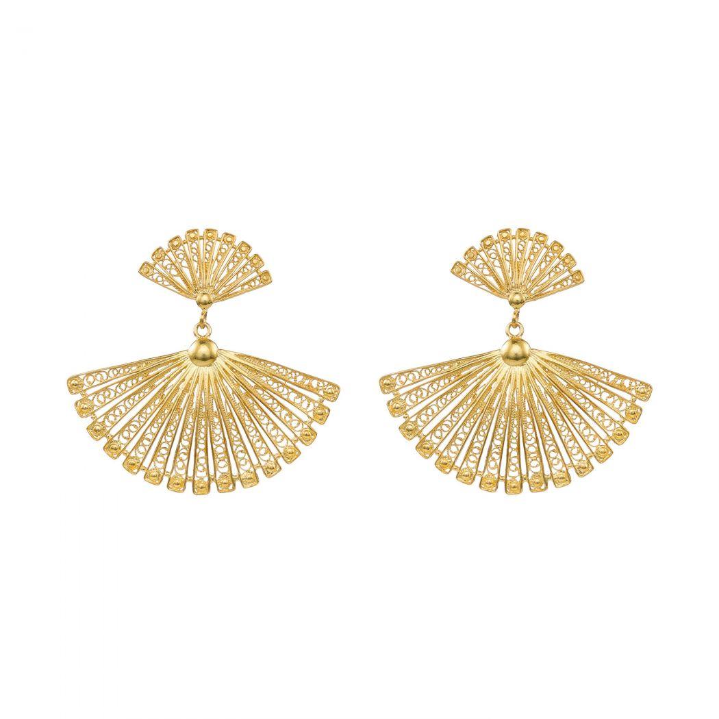 Earrings Fan in Gold Plated Silver
