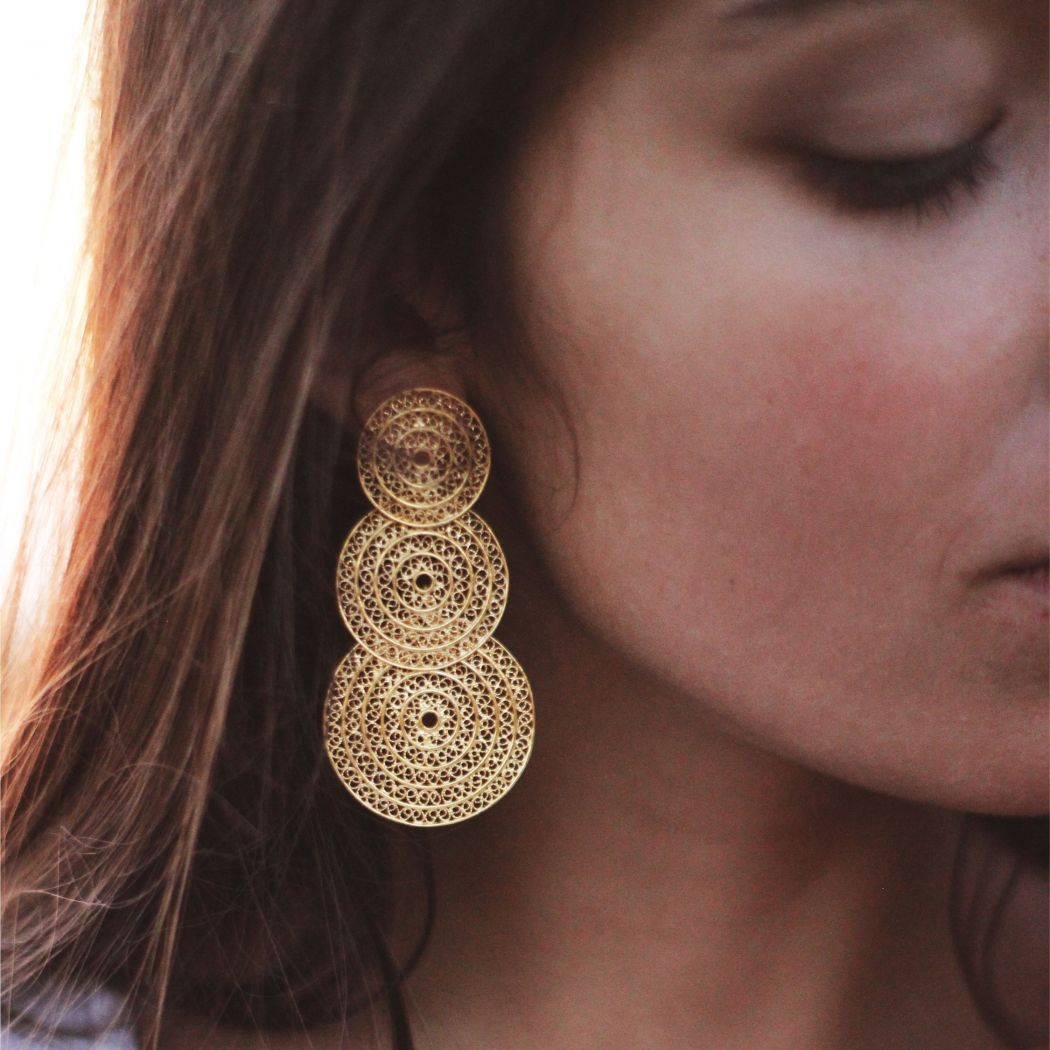 Earrings Three Circles in Gold Plated Silver