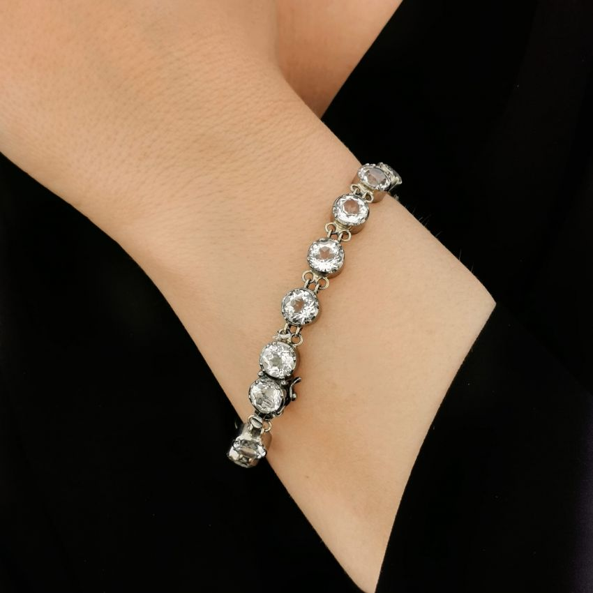 Bracelet Riviera Rock Crystal in Silver and Gold