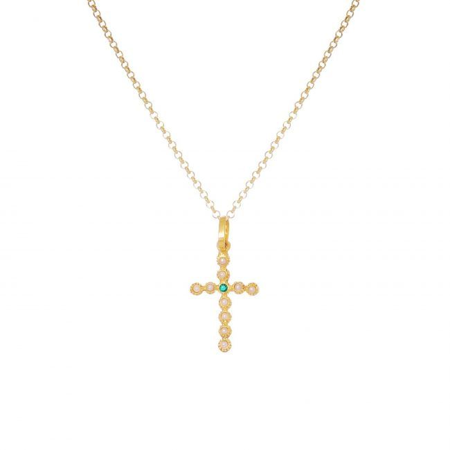 Necklace Cross with Pearls and Emerald in Gold Plated Silver