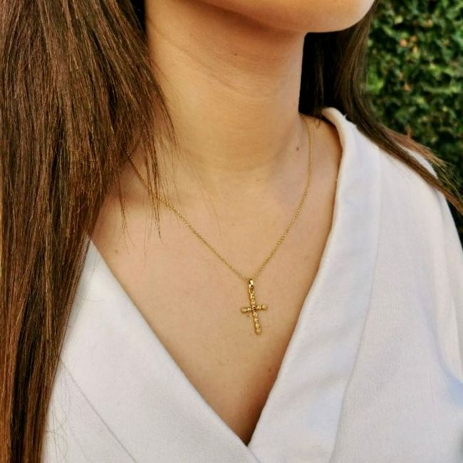 Necklace Cross with Pearls and Purple in Gold Plated Silver