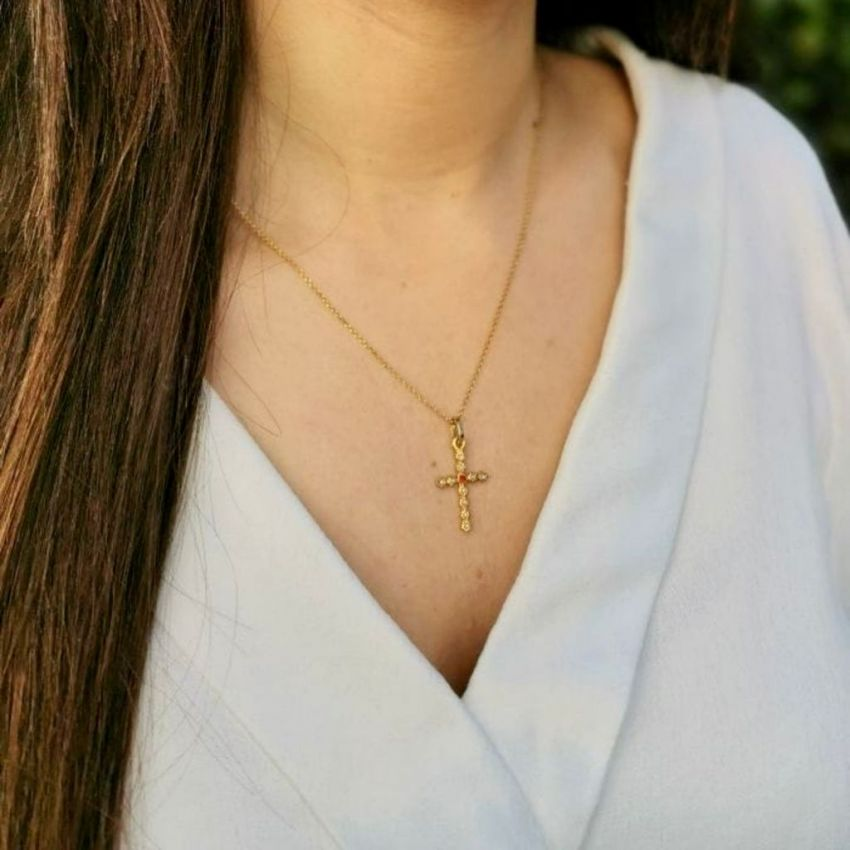 Necklace Cross with Pearls and Ruby in Gold Plated Silver
