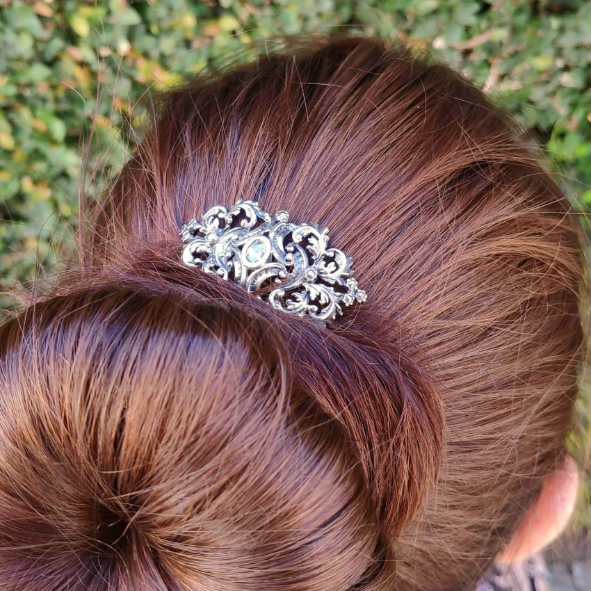 Hair Comb with Marcasites and Zirconia in Silver