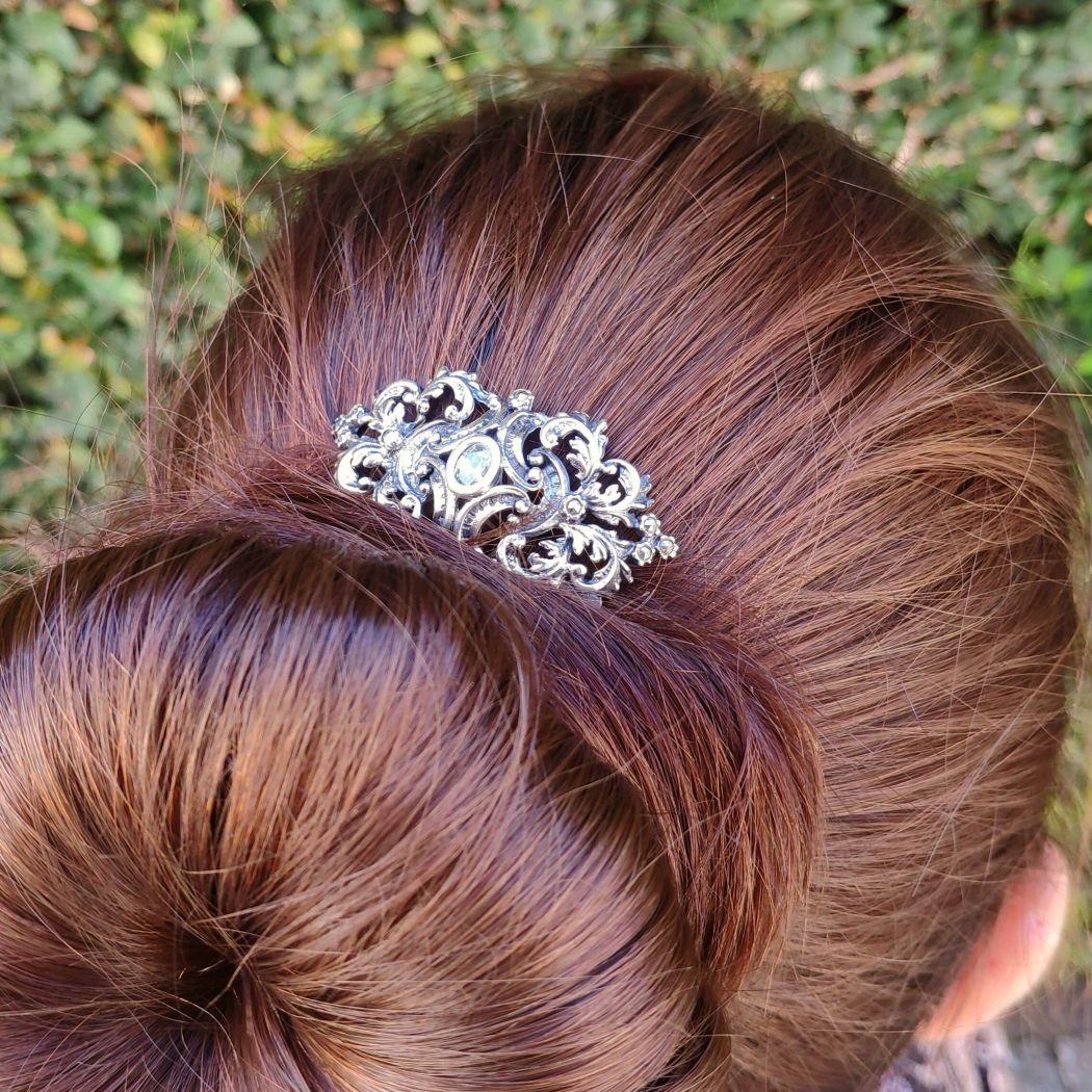 Travessa de cabelo com Marcassites e Zircónia em Prata