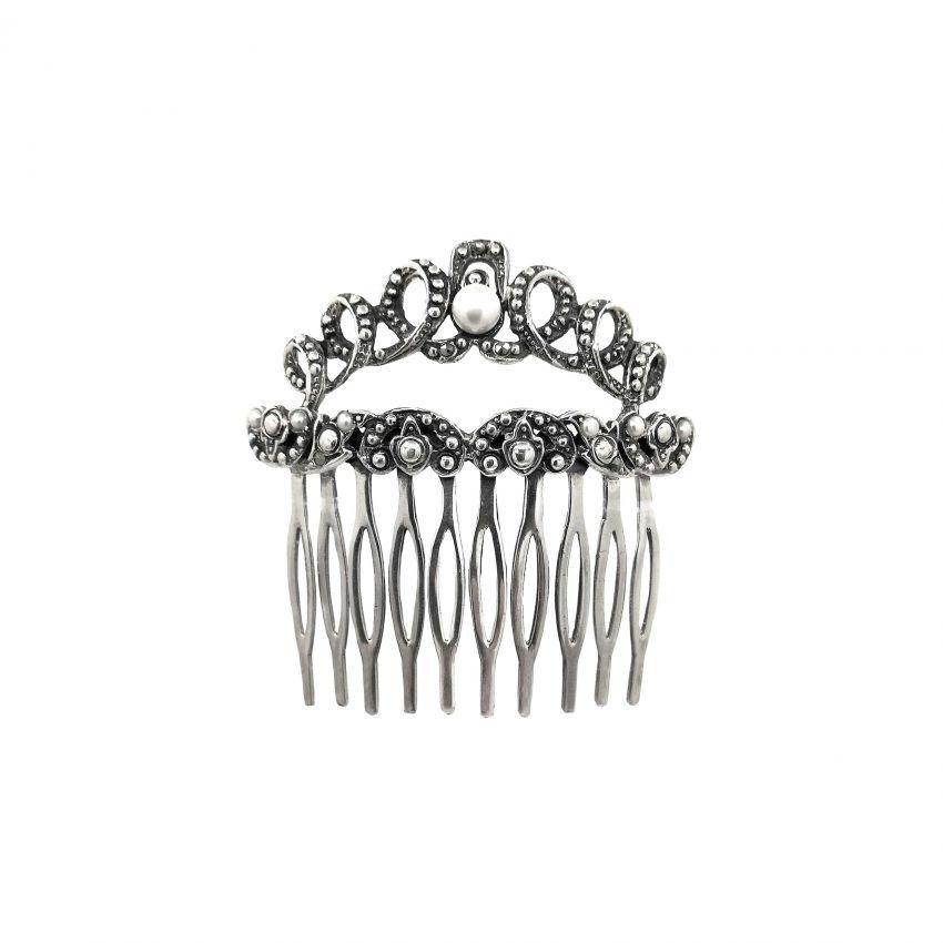 Travessa de cabelo com Marcassites e Pérolas em Prata