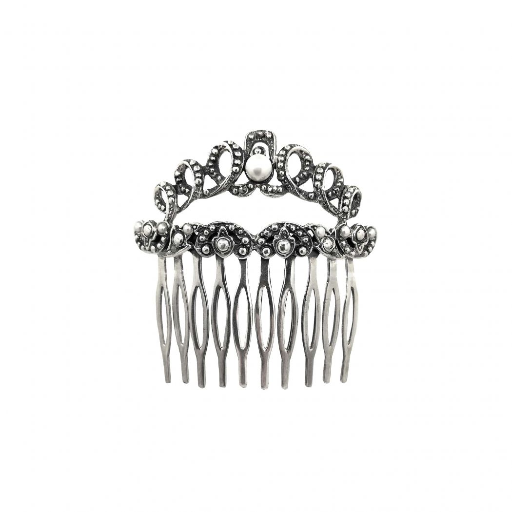 Hair Comb with Marcasites and Pearls in Silver