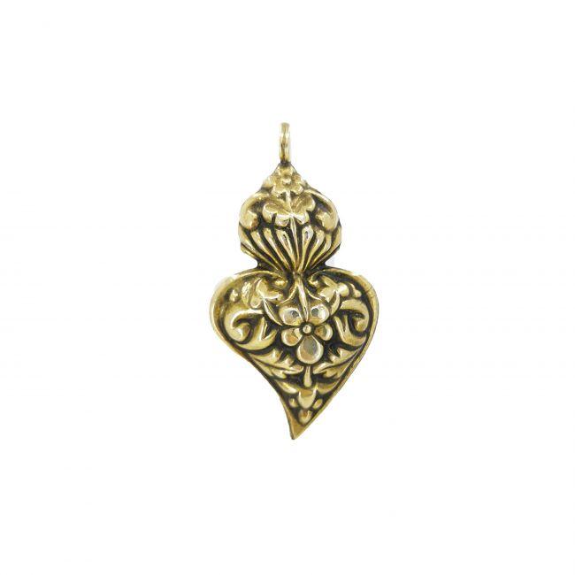 Medalha Coração de Viana Barroco em Prata Dourada